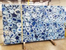 Fourniture dalles brillantes 5.1 cm en pierre semi précieuse naturelle AGATA BLUE AG-BL18. Détail image photos