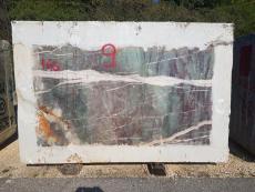 Fourniture blocs sciés au diamant 180 cm en quartzite naturel AMAZZONITE CRISTALLO D211016. Détail image photos