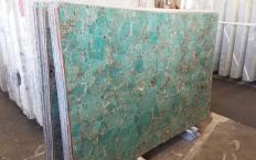 Fourniture dalles brillantes 2 cm en pierre semi précieuse naturelle AMAZZONITE Z0206. Détail image photos