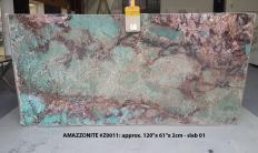 Fourniture dalles brillantes 2 cm en pierre semi précieuse naturelle AMAZZONITE Z0011. Détail image photos