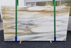 Fourniture dalles brillantes 2 cm en marbre naturel CALACATTA MAJESTIC 1343. Détail image photos