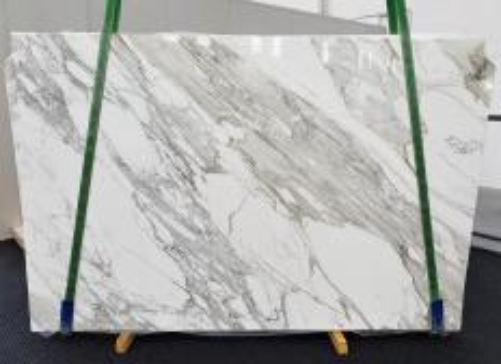 Fourniture dalles brillantes 2 cm en marbre naturel CALACATTA 1344. Détail image photos