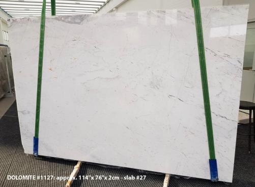 Fourniture dalles brillantes 2 cm en Dolomie naturelle DOLOMITE ORION WHITE 1127. Détail image photos