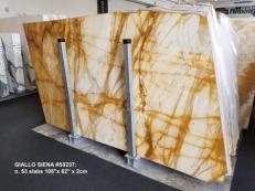 Fourniture dalles brillantes 2 cm en marbre naturel GIALLO SIENA S0237. Détail image photos