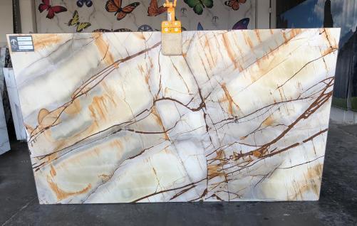 Fourniture dalles brillantes 2 cm en quartzite naturel ISOLA BLUE AA U0112. Détail image photos