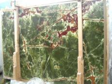 Fourniture dalles brillantes 2 cm en onyx naturel ONICE VERDE SCURO E_H352. Détail image photos