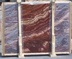 Fourniture dalles brillantes 2 cm en onyx naturel ONYX RED EXTRA E-14637. Détail image photos