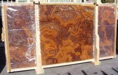 Fourniture dalles brillantes 2 cm en onyx naturel ONYX RED E-14533B. Détail image photos