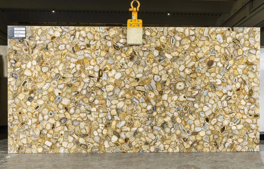 AGATE GOLD Fourniture Veneto (Italie) d' dalles brillantes en pierre semi précieuse naturelle TL0143 , SL2CM