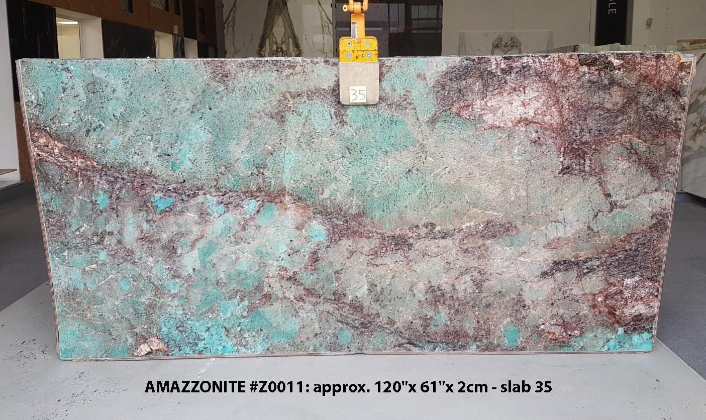 AMAZZONITE Fourniture (Italie) d' dalles brillantes en pierre semi précieuse naturelle Z0011 , Slab #35