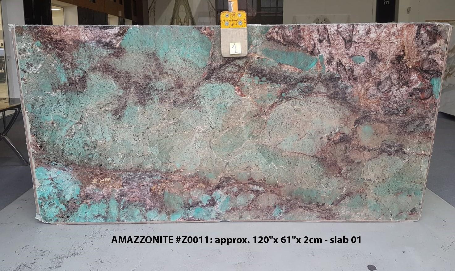 AMAZZONITE Fourniture (Italie) d' dalles brillantes en pierre semi précieuse naturelle Z0011 , Slab #01