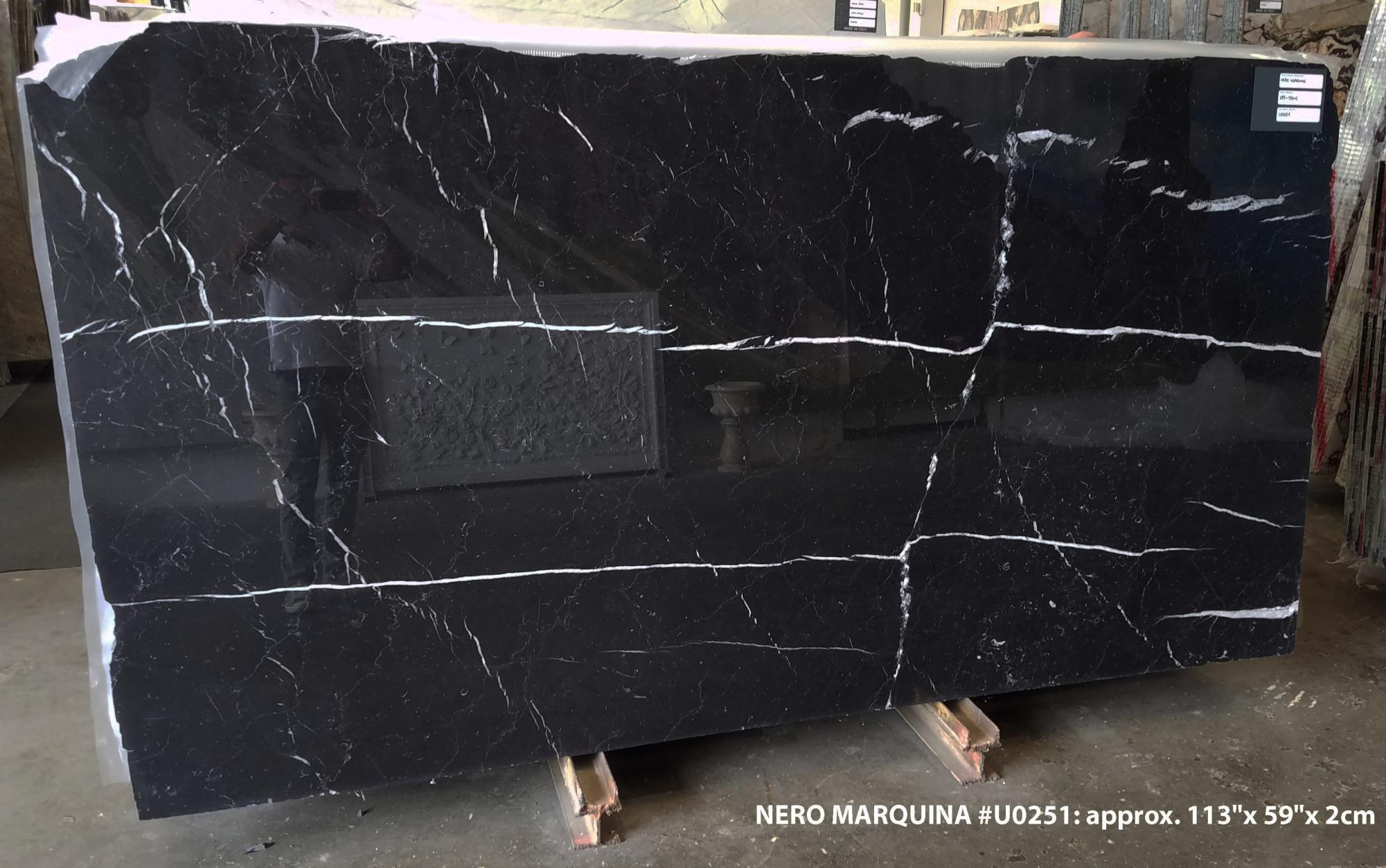 NERO MARQUINA Fourniture (Italie) d' dalles brillantes en marbre naturel U0251 , SL2CM